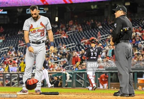 St Louis Cardinals third baseman Matt Carpenter throws down his helmet after being called out on strikes by home plate umpire Nick Mahrley in the...