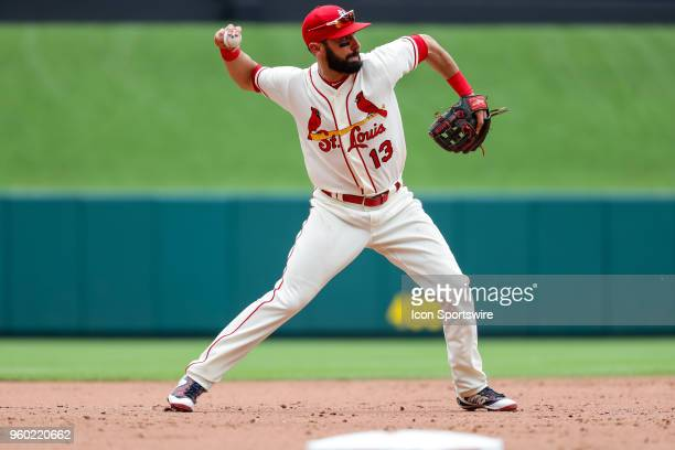 St Louis Cardinals third baseman Matt Carpenter throws to first base during the fifth inning of a baseball game between the St Louis Cardinals and...