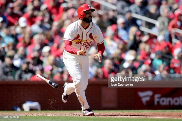St Louis Cardinals third baseman Matt Carpenter watches his sacrifice fly ball during the third inning against the Arizona Diamondbacks at Busch...