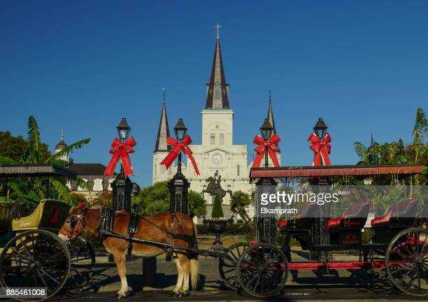 st louis cathedral in jackson square in the french quarter of new orleans, louisiana - new orleans christmas stock pictures, royalty-free photos & images