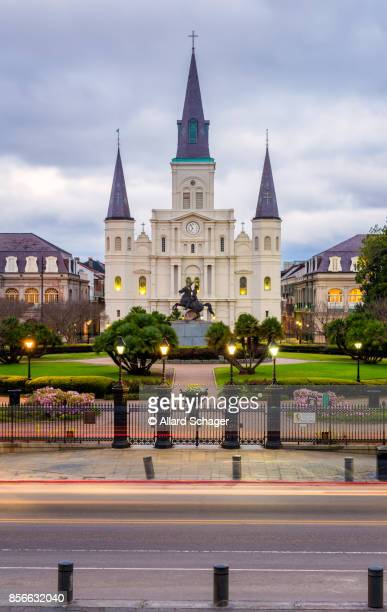 st. louis cathedral new orleans - new orleans french quarter stock photos and pictures