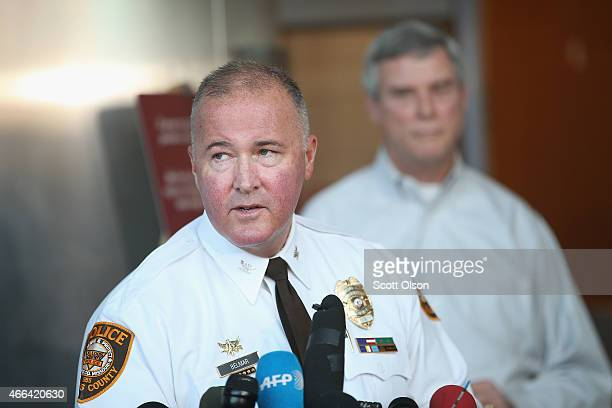 St Louis County Police Chief Jon Belmar takes questions after Robert 'Bob' McCulloch the Prosecuting Attorney for St Louis County announced the...