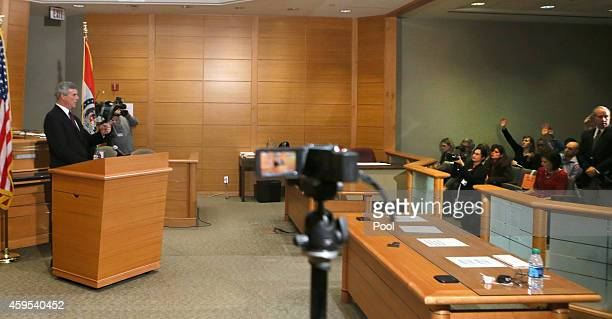 St Louis County Prosecutor Robert McCulloch takes questions after announcing the grand jury's decision not to indict Ferguson police officer Darren...