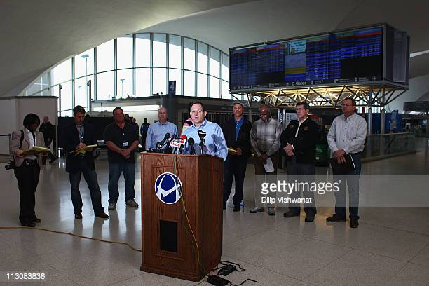 St Louis Mayor Francis Slay addresses the media at LambertSt Louis International Airport April 23 2011 in St Louis Missouri The airport is closed...