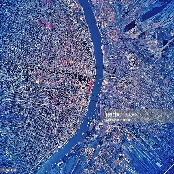 """st. louis, missouri, satellite image"" - st. louis missouri stock pictures, royalty-free photos & images"