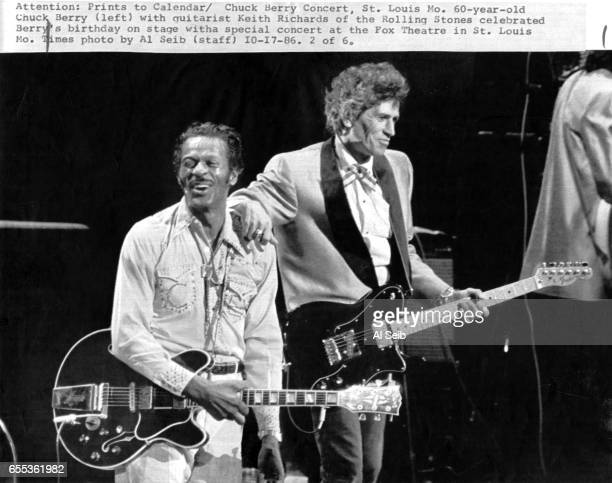 St. Louis, Mo.Chuck Berry with guitarist Keith Richards of the Rolling Stones celebrated Berry's birthday on stage with a special concert at the Fox...