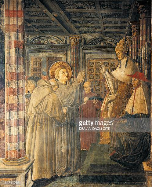 St Louis of Toulouse Ordained Bishop by Pope Boniface VIII 14611466 by Benedetto Bonfigli fresco Priors Chapel Priors Palace Perugia Umbria Detail...