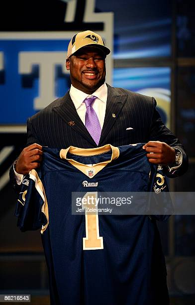 St. Louis Rams draft pick Jason Smith poses with his new jersey at Radio City Music Hall for the 2009 NFL Draft on April 25, 2009 in New York City