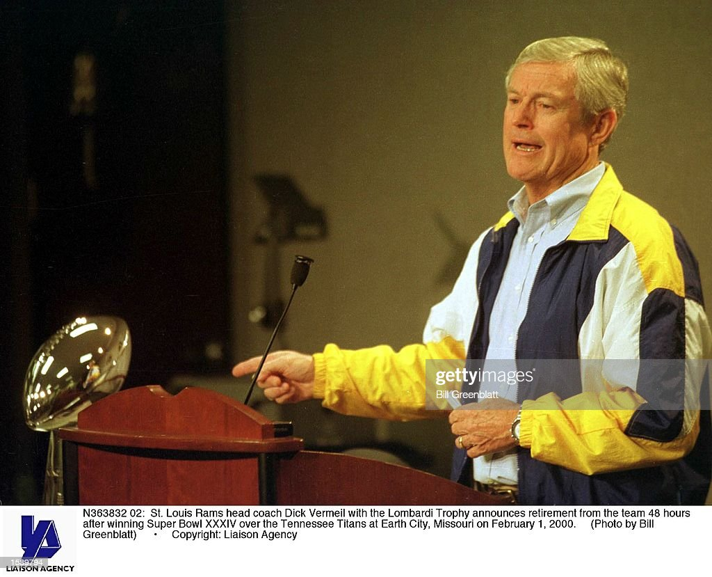 St. Louis Rams head coach Dick Vermeil with the Lombardi Trophy announces retirement from the team 48 hours after winning Super Bowl XXXIV over the Tennessee Titans at Earth City, Missouri on February 1, 2000.