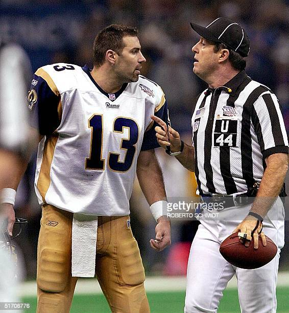 St Louis Rams' quarterback Kurt Warner argues with umpire Jeff Rice during the second half 03 February of Super Bowl XXXVI in New Orleans Louisiana...