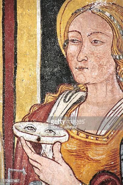 St Lucia fresco detail altar from Chapel of St Sophia Papasidero Calabria Italy