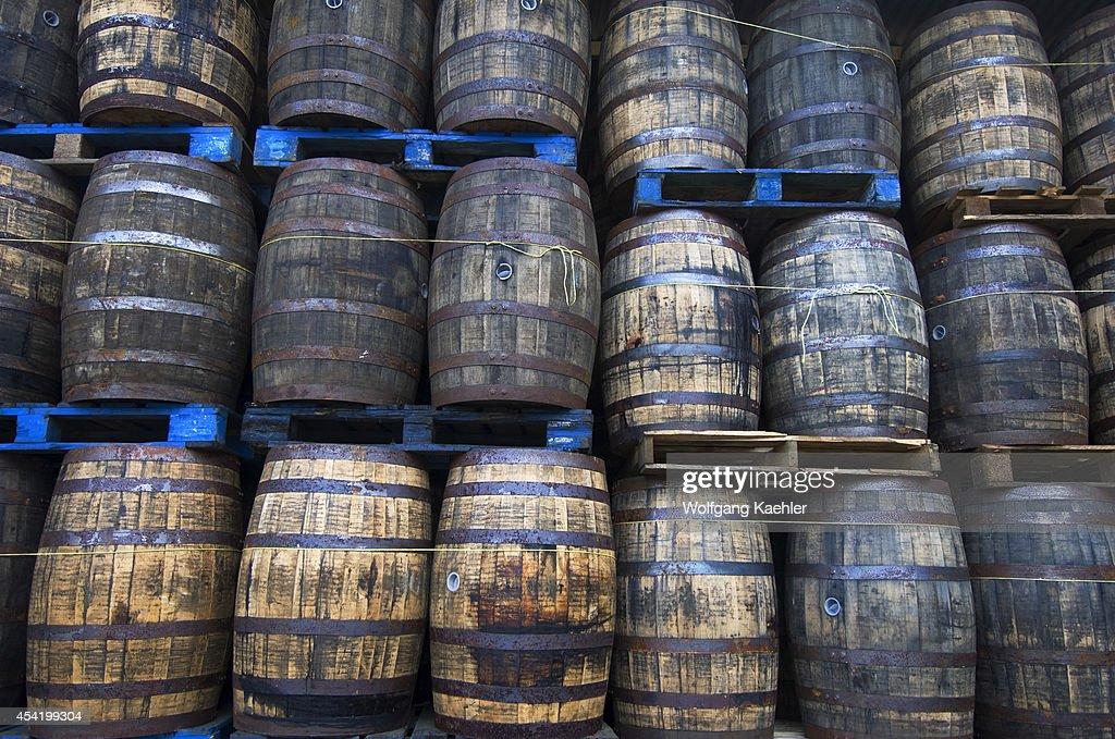 St. Lucia Island, Bounty Rum Factory, Rum Barrels.