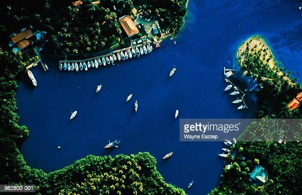 St Lucia, Marigot Bay, sailboats moored, aerial view