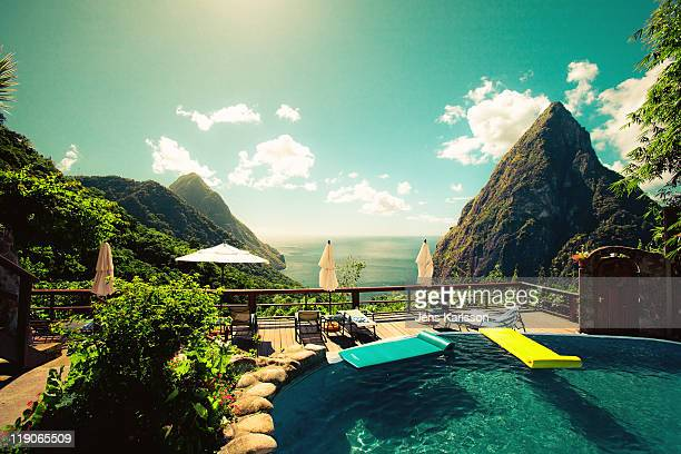 st. lucia paradise view - st. lucia stock pictures, royalty-free photos & images