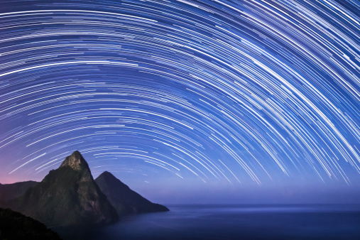 St Lucia & The Pitons - Startrails - gettyimageskorea