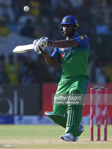 St Lucian international cricketer of Multan Sultans Johnson Charles plays a shot during the third match between the Lahore Qalandars and Multan...