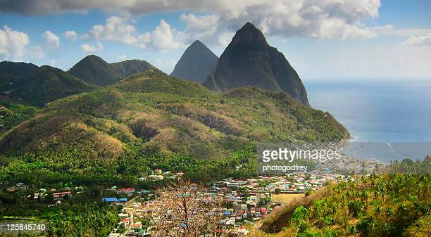 st lucia's most famous landmarks - st. lucia stock pictures, royalty-free photos & images