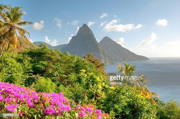 St. Lucia's Twin Pitons at Sunrise