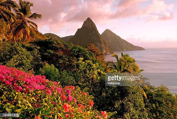 st. lucia's twin pitons at sunset - st. lucia stock pictures, royalty-free photos & images