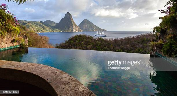St. Lucia's Twin Pitons from Jade Mountain