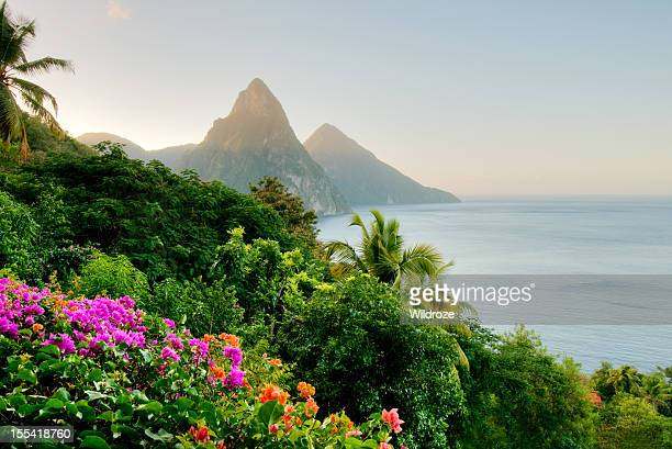 St. Lucia's Twin Pitons lit by sunrise glow