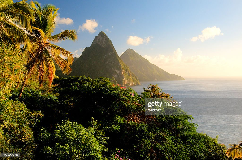 St. Lucia's Twin Pitons lit by sunset glow : Stock Photo