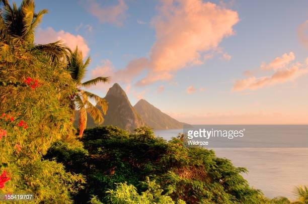 St. Lucia's Twin Pitons lit by sunset glow