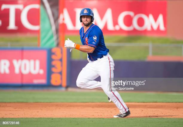 St Lucie Mets Outfielder Tim Tebow runs to second base during the first game of a double header MiLB minor league baseball game between the Palm...
