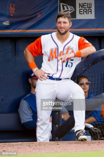 St Lucie Mets Outfielder Tim Tebow smiles in the dugout during the second game of a double header MiLB minor league baseball game between the Palm...