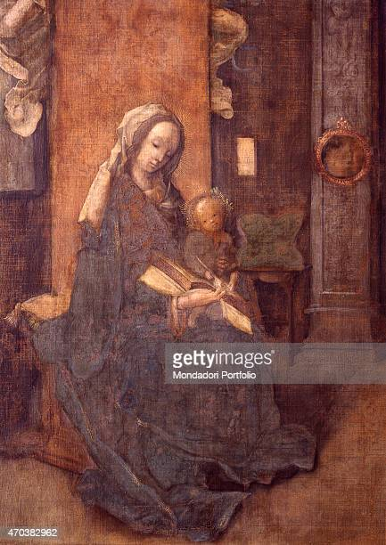 'St Luke painting the Virgin and Child by Jan de Beer 16th century tempera on canvas Italy Lombardy Milan Brera Collection Detail The Virgin with the...