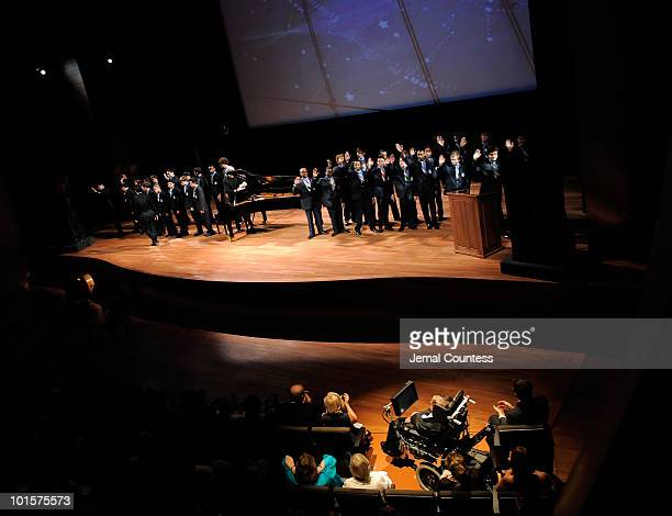 St Lukes Boys Choir salutes Physicist Stephen Hawking during their performance at the 2010 World Science Festival Opening Night Gala at Alice Tully...