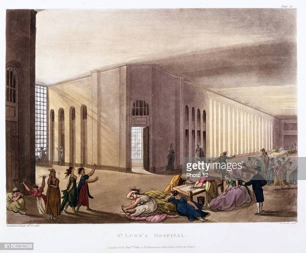St Luke's Hospital Old Street London Lunatic asylum Female patients in their day gallery Each patient had own room Architect George Dance jnr From...