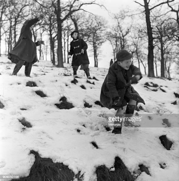St Luke's Primary School, Manchester, schoolchildren have picnic in the snow, 17th January 1959.