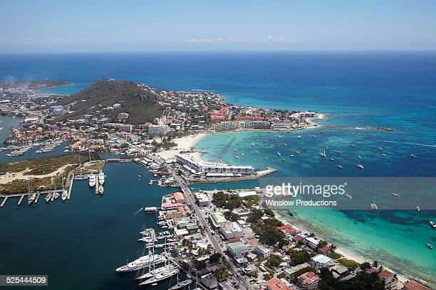 st maarten, aerial view of town, marina and caribbean sea - sint maarten stockfoto's en -beelden