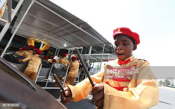 St Margaret's Boys' Anglican School Steel Orchestra performs during the Junior Panorama competition at Queen's Park Savannah as part of Trinidad and...