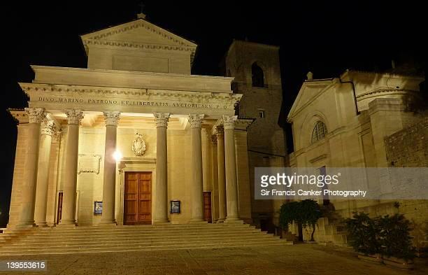 St. Marinus cathedral at night, San Marino
