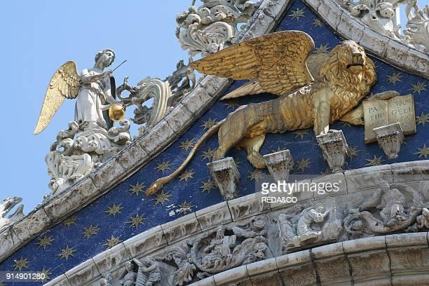 St Mark and Angels on the facade of St Mark's Basilica St Mark's Square Venice Veneto Italy