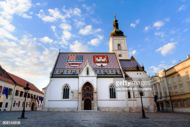 st. mark church, famous landmark of zagreb city, croaitia - zagreb stock pictures, royalty-free photos & images