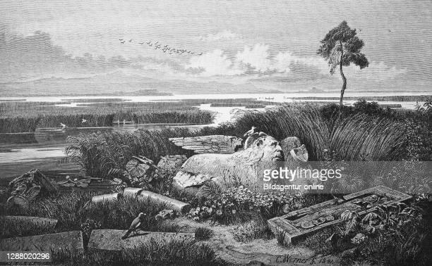 St. Mark Lion of Torcello in the lagoon of Venice, in 1880, Italy / Der Markuslöwe von Torcello in der Lagune von Venedig Italien, Historisch,...