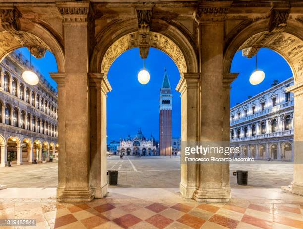 st mark square by night, venice, veneto, italy - venice italy stock pictures, royalty-free photos & images