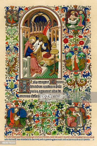 St Mark writing his gospel 14141423 The symbolic lion holds the saint's ink pot and pencase in its teeth Other vignettes show episodes from the life...