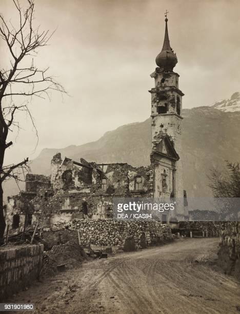 St Mark's Church destroyed by bombing Marco district of Rovereto World War I Italy 20th century