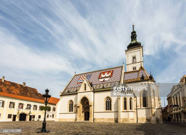 st. mark's church in the heart of zagreb, croatia - zagreb stock pictures, royalty-free photos & images