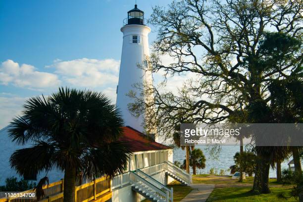 st. marks lighthouse on the st. marks wildlife refuge, florida - tallahassee stock pictures, royalty-free photos & images