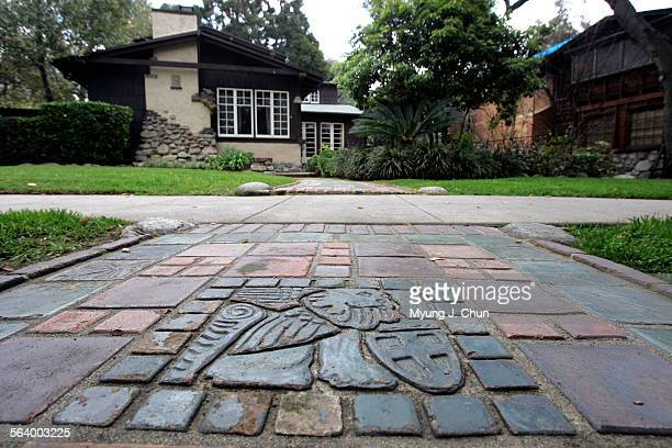 St Mark's Lion by Ernest Batchelder lines a walkway and is among the original pieces of tile decorating Robert Winter's Pasadena house The 1909 Arts...