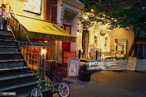 st mark's place, east village, ny - east village stock pictures, royalty-free photos & images