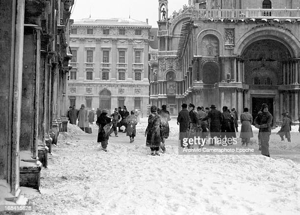St Mark's Square during a cold wave Venice Italy