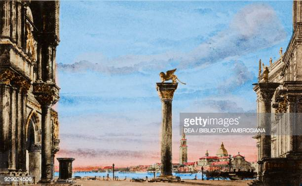 St Mark's square in Venice sketch from 500 stage design sketches in five volumes by Carlo Ferrario Digitally colorized image