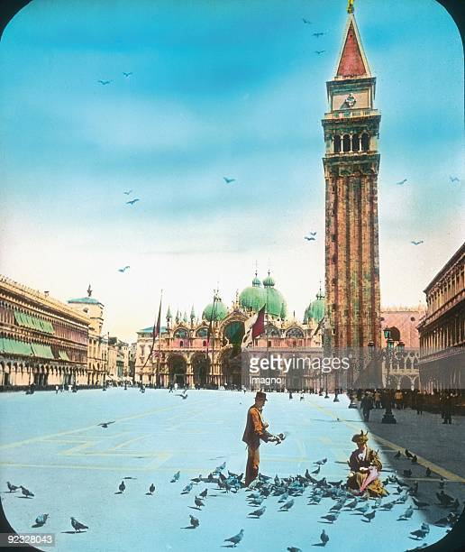 St Mark's Square Venice Handcolored lantern slide around 1910