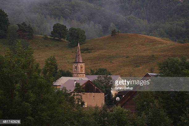 St Marthe's Church stands the day before a burial ceremony for the last victims of the Germanwings aircraft crash on July 23 2015 in Le Vernet France...